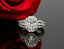 Ring in Solid 14K White Gold Certified 2.75Ct White Oval Diamond Halo Engagement