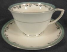 Royal Worcester Sea Rose Cup & Saucer England Bone China Green Band and Flowers