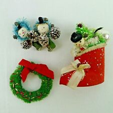 Vintage Christmas Pins And Earrings Cotton Snowman In Boot Pipe Cleaner Wreath +