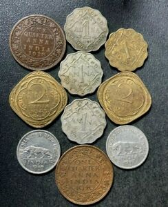 OLD INDIA COIN LOT - 1918-1947 - 10 Excellent Vintage Coins - Lot #S24