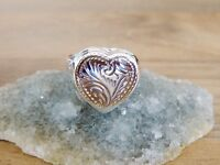 925 Sterling Silver - Silver Ring Engraved Heart Shaped Locket Ring - UK Sizes