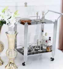 Contemporary Serving Drinks Chrome Trolley With Black Glass Storage Shelve