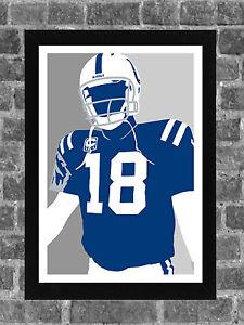 Indianapolis Colts Peyton Manning Portrait Sports Print Art 11x17