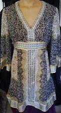 INC Size 14 Sheer Silk Dress. Black White Gold Pattern.  NWT. RP $119