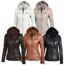 UK Women PU Leather Jacket Hooded Motor Coat Bomber Winter Outwear Parka M-7XL
