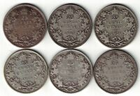 6 X CANADA TWENTY FIVE CENTS QUARTERS KING GEORGE V 800 SILVER COINS 1928 - 1933