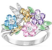Women Fashion Crystal Rhinestone Flower Colourful Ring Jewelry Silver Plated