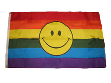 3x5 Gay Lesbian Rainbow striped smiley face flag 3'x5' house banner grommets