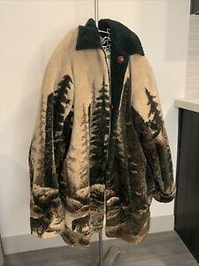 Vintage Denali Reversible Plush Fleece Jacket Coat Green Tan Pine Trees Wolf L