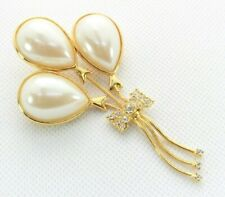 Chain Dangle - White Rhinestones Gold Tone Brooch Pin - Balloons - Faux Pearls -