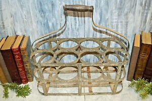 Antique French 8 Bottle Carrier Zinc with Wood Handle Caddy Holder