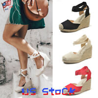 Ladies Sandals Wedges Women's Shoes Espadrilles Summer Beach Lace Up Casual US