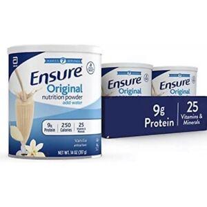 Ensure Vanilla Protein Powder Orginal Lot of 3 -14oz. cans