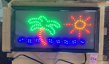 New 19x10 Motion Palm Tree Ocean Led Display Monitor Light Up Neon Sign