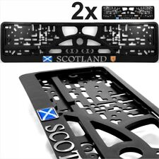 2x Black Number Plate Surrounds Holder Chrome SCOTLAND gel SCO Flag Coat of Arms