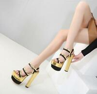 Womens Chunky Ankle Straps High Heels Platform Sandals Clubwear Shoes Open Toe