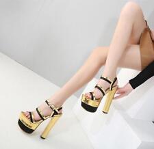 Ladies Ankle Straps Block high Heels Platform Sandals Multi Color Buckles Shoes*