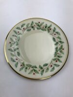 "Lenox Holiday Dimension Collection 8"" Salad Plate Porcelain Holly Christmas $50"