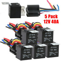 5Pack 12V 40A 5Pin SPDT Automotive Relay With Wires & Harness Socket Set New