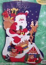 "Bucilla DOWN THE CHIMNEY JUMBO Felt Christmas Stocking Kit  Santa~Sterilized 28"""