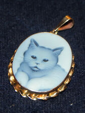Blue Agate Cameo Cat Pendant 14 Kt Gold Hand Carved Made in Italy