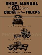 1948 1949 Dodge B1 Truck Repair Shop Manual B 1 48 49 Pickup Panel Power Wagon