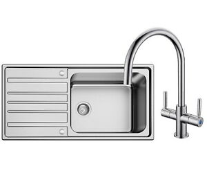 Superdeep 1000mm x 500mm Single Bowl Brushed Steel Sink Pack  With Mixer Tap