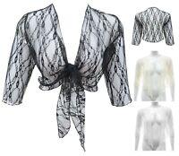Womens new lace shrug 16 to 28 Black Cream White cropped tie top/ bolero