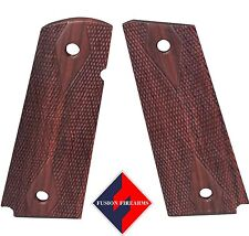 1911 Grip Full Size Thin Red Cocobolo Beveled Bottom Double Diamond Checkered
