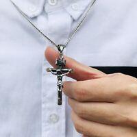 Halskette MIT Anhänger Kreuz Jesus Silber 60cm Kette Für Herren Damen Edelstahl