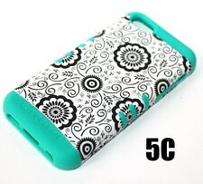 For iPhone 5C - HARD&SOFT RUBBER HYBRID SKIN CASE COVER TURQUOISE GREEN FLOWERS