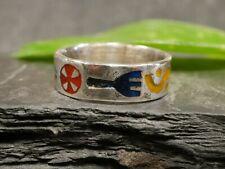 Schöner 925 Sterling Silber Ring Symbole Bunt Geometrie Gabel Kreuz Schlange