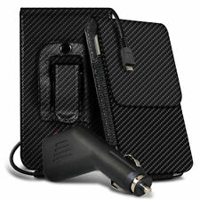 Carbon Fibre Belt Pouch Holster Case & Car Charger For Huawei Honor 7