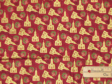 Silent Night Churches Red Religious Christmas Fabric by the 1/2 Yard #12192