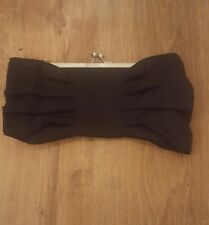 New Look Black Satin Bow Clutch Bag Clasp