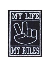 My Life my rules peace main sign Biker patches écusson rocker Bügelbild MC moto