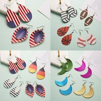 Women USA Flag Teardrop Leather Earrings Ear Stud Hook Drop Dangle Jewelry Party