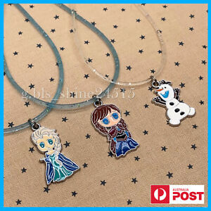 Disney Frozen Elsa Anna Olaf Glitter Necklace (Set) Pendant Charm Girls Kids