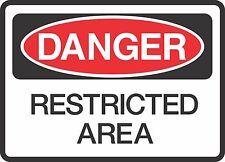 "DANGER RESTRICTED AREA   (5 Pack) 3.5"" x 5"" Label Sticker Safety Sign Warning"