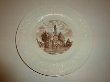 Vintage Wedgwood Brown University First Baptist Church Plate, White/Brown