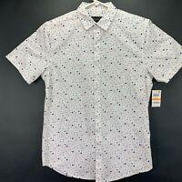 INC International Concepts Mens Star Print Button Down Shirt Red White Blue S