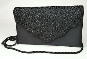 Black Evening Purse Clutch Beaded Flap Snap Closure Rope Strap