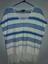 Lauren Ralph Lauren Medium Blouse Linen Fringe White & Blue Striped