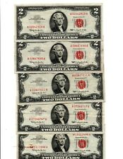 5-1963 $ 2.00  RED SEAL UNITED STATES NOTES,  OLD U.S. CURRENCY,         lot (a)
