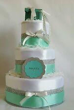 3 TIER TIFFANY BLUE NAPPY CAKE / BABY SHOWER / NEW BABY / MATERNITY