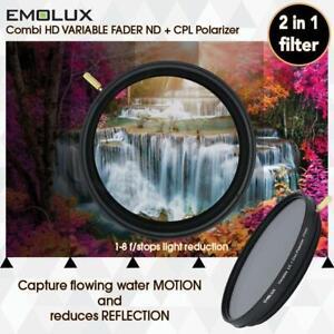 EMOLUX 77MM VARIO ND2-400 PLUS CPL POLARIZER 2 IN 1 FILTER POLARISER PLC PL-C
