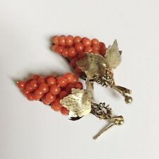 Antique Victorian Gold Gilt Sterling Large Coral Grapes Drop Earrings