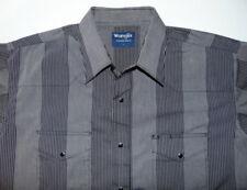 Wrangler Gray Black Long Sleeve Pearl Snaps Western Shirt Mens size L