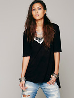 New Free People Melrose Swing Tee 100% Cotton Hi-Lo Trapeze Top Womens Xs-L $68