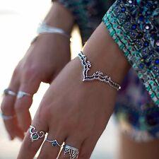 Retro Bangle Boho Triangle Hollow Bracelet Cuff Silver Plated Jewelry Creative